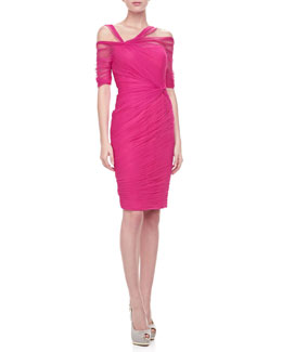 Monique Lhuillier Ruched Tulle Half-Sleeve Dress