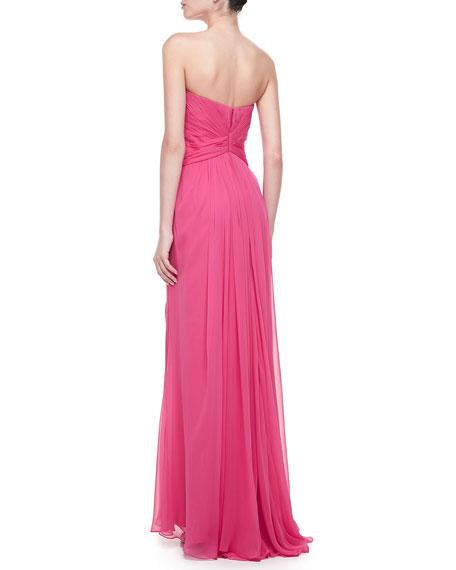 Silk Chiffon Strapless Gown