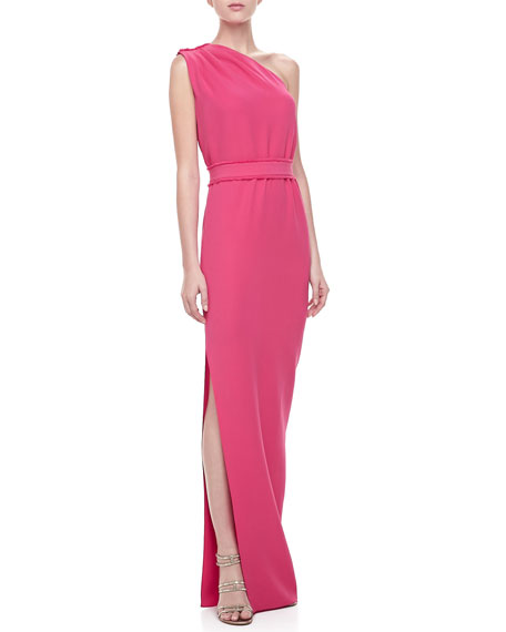 Crepe One-Shoulder Gown