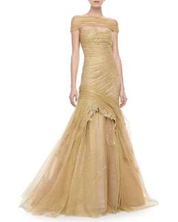 Monique Lhuillier Corded Lace Off-the-Shoulder Gown