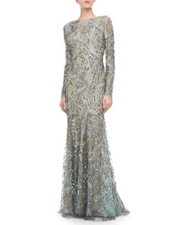 Monique Lhuillier Embellished Long-Sleeve Gown