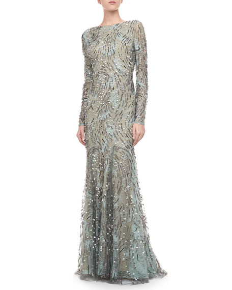 Embellished Long-Sleeve Gown