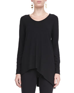 Eileen Fisher Soft V-Neck Shaped Top, Petite