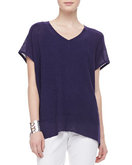 Eileen Fisher Shadow Striped Poncho Top, Petite