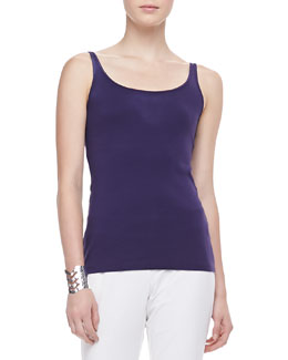 Eileen Fisher Long Slim Silk Tank, Petite