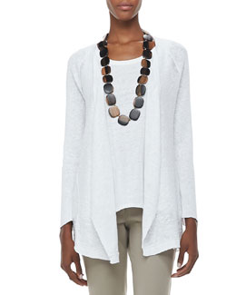 Eileen Fisher Textured Striped Long Cardigan, Petite