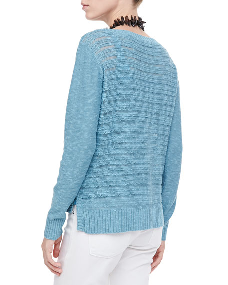 Washable Textured-Stripe Wool Top, Women's