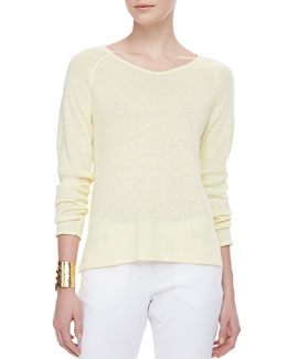 Eileen Fisher Lightweight Linen V-Neck Top, Petite