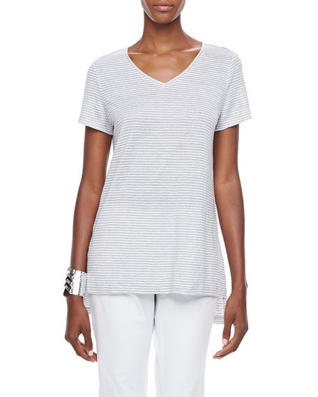 Striped Organic-Linen High-Low Top, Petite