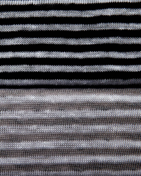 Striped High-Low Organic Linen Top