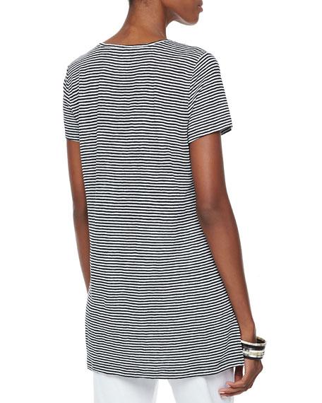Striped High-Low Organic Linen Top, Petite