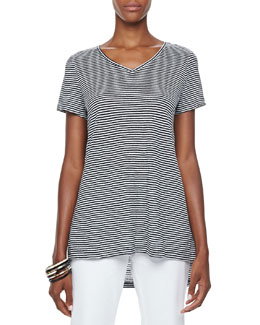 Eileen Fisher Striped High-Low Organic Linen Top, Petite