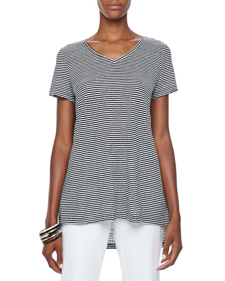 Striped High-Low Organic Linen Top, Petite