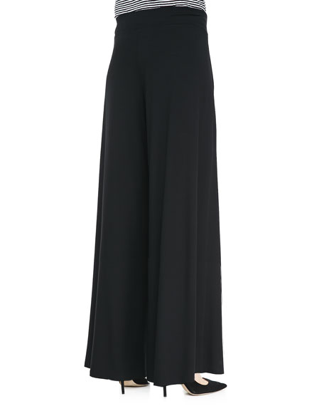 Washable Stretch Jersey Wide-Leg Pants, Petite