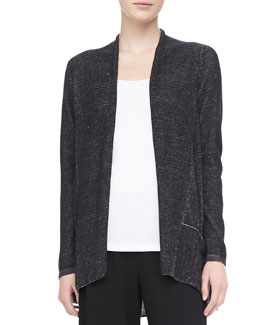 Eileen Fisher Plaited Angled Cotton-Lyocell Cardigan