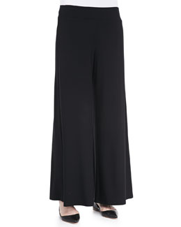Eileen Fisher Washable Stretch Jersey Wide-Leg Pants, Women's