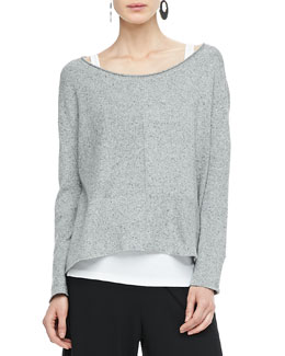 Eileen Fisher Speckled Box Knit Top, Petite