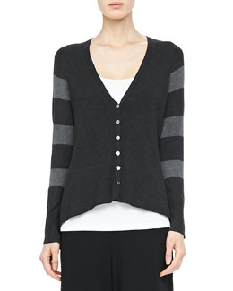 Eileen Fisher V-Neck Shaped Cardigan, Petite