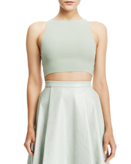 Alice + Olivia Silk/Lace Crop Top