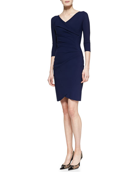 Faux-Wrap Cocktail Dress, Navy