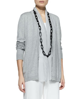 Eileen Fisher Sleek Cotton Silk-Trim Cardigan