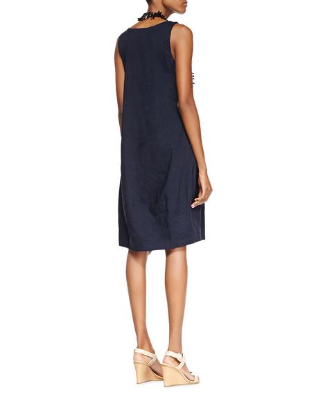 Sleeveless Linen-Stretch Lantern Dress, Petite