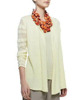 Eileen Fisher Linen Jersey Shadow Striped Cardigan, Petite