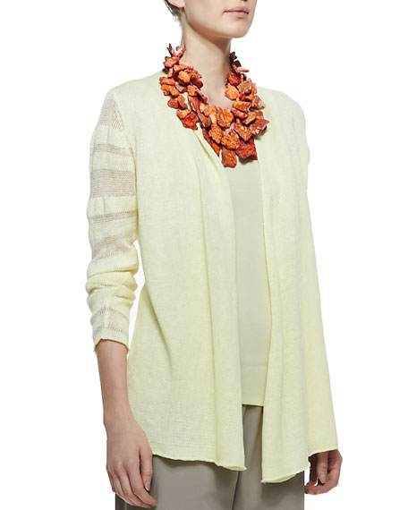 Linen Jersey Shadow Striped Cardigan, Petite