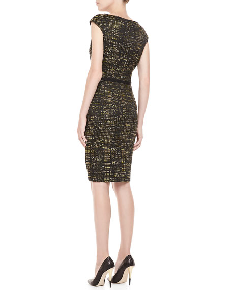 Belted Geometric-Print Dress