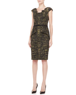 David Meister Belted Geometric-Print Dress