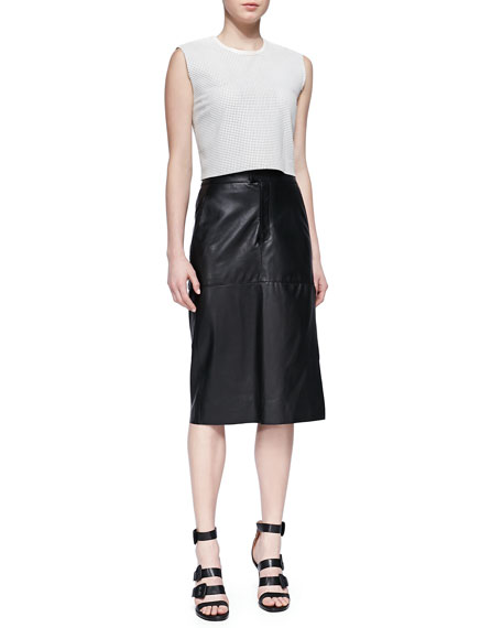 Stilt Paneled Leather Midi Skirt