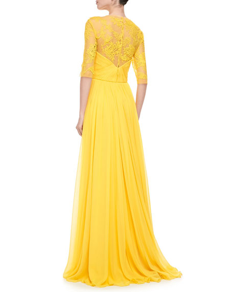 Illusion Embroidered Gown, Yellow
