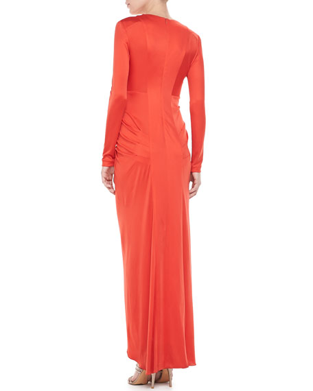 Long-Sleeve Ruffle-Front Gown