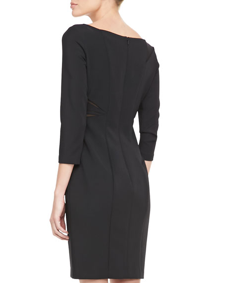 3/4-Sleeve Mesh Cutout Cocktail Dress