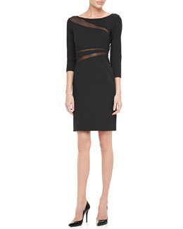 Catherine Malandrino 3/4-Sleeve Mesh Cutout Cocktail Dress