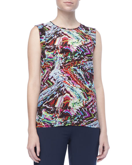 Gail Printed Silk Tank Top