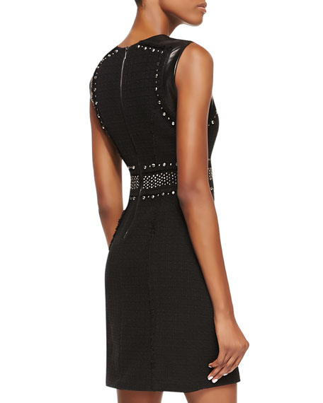 Studded Tweed Dress, Black