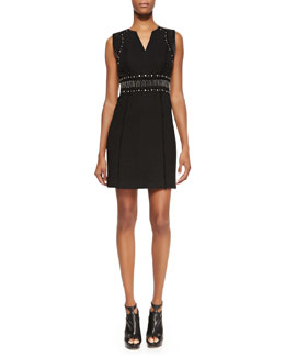 Rebecca Taylor Studded Tweed Dress, Black