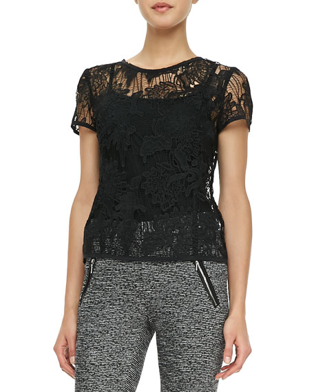Short-Sleeve Floral Lace Tee