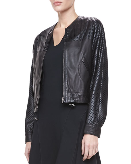 Perforated Leather Zip Jacket
