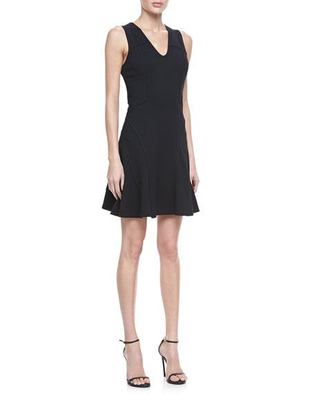Flare-Skirt Ponte Dress