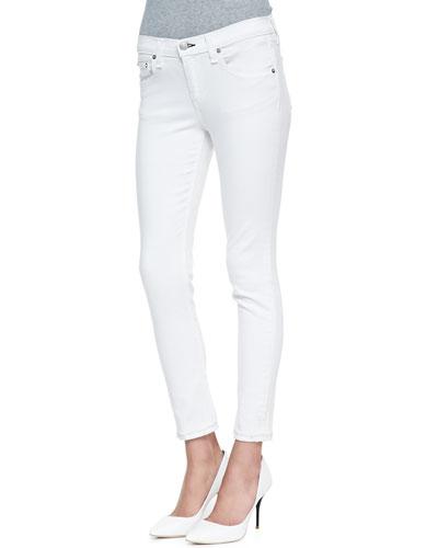 rag & bone/JEAN Repair Denim Capri Pants, Bright White