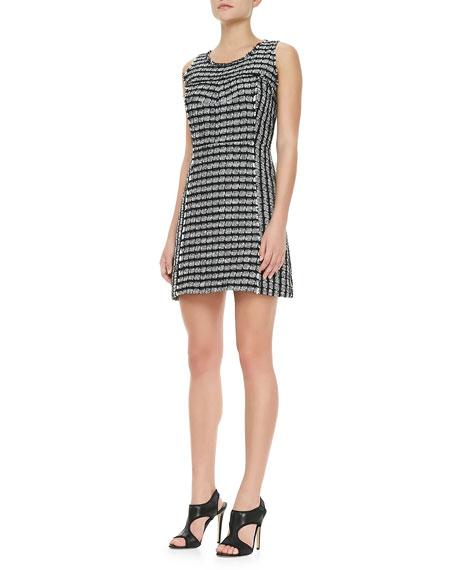 Geometric Tweed Sleeveless Dress