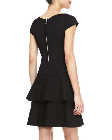 Tiered-Skirt Stretch Knit Dress