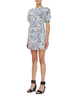 Milly Pixel-Print Stretch-Silk Dress