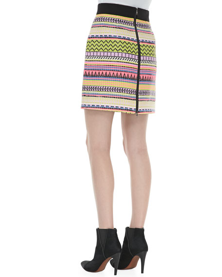 Raffia Mini Pencil Skirt, Multicolor