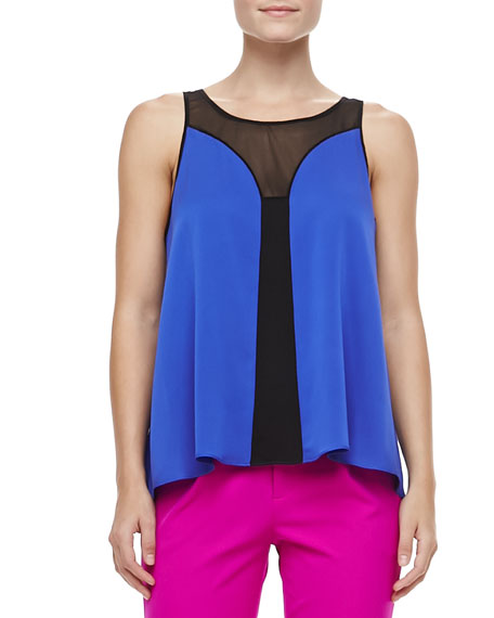 Fly Away Silk Mesh Sleeveless Top, Iris