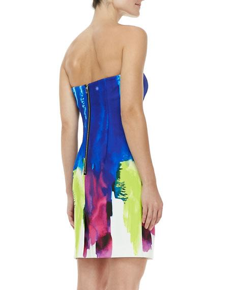 Eva Surf-Print Strapless Dress