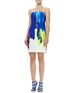 Milly Eva Surf-Print Strapless Dress
