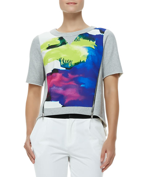 Angular Surf-Print Zipper Tee